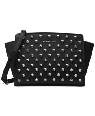 8c647077631bb5 BLACK MICHAEL Michael Kors Selma Studded Medium Messenger | macys.com
