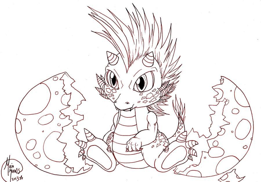 Cute Baby Dragon Hatching Work In Progress By Havocgirl On Deviantart Baby Dragons Drawing Dragon Coloring Page Dragon Drawing