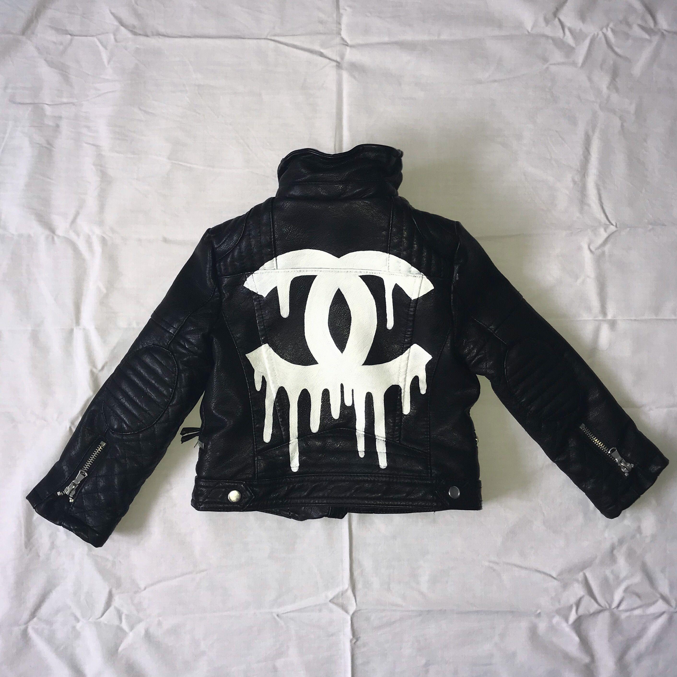 Chanel Kids Jacket Black White Coco Art Customized Cc Hype Clothing Customised Denim Jacket Custom Clothes [ 2824 x 2824 Pixel ]