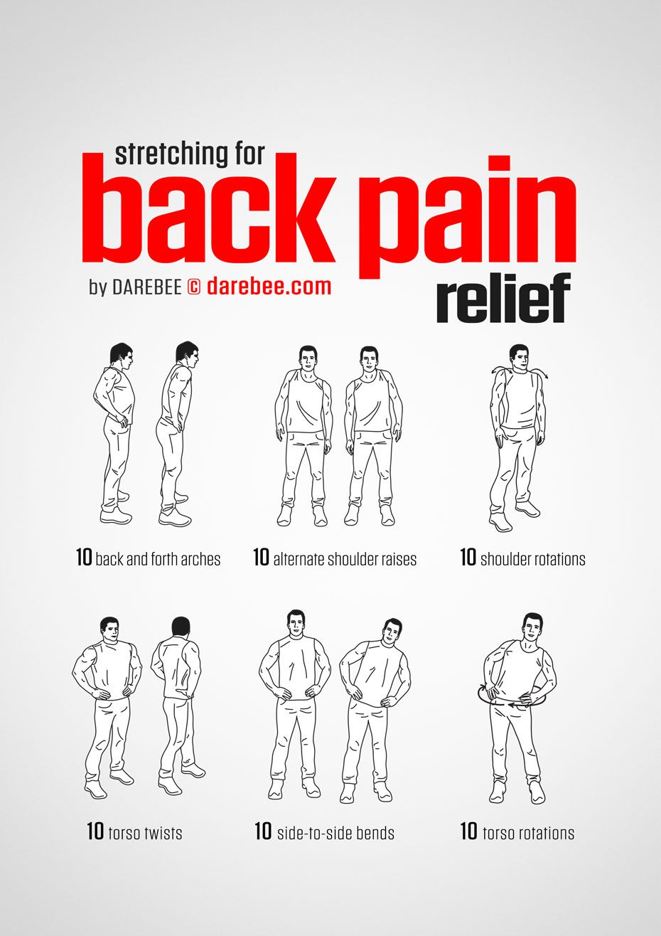Back Pain Relief Workout by DAREBEE  Yoga poses  Pinterest  Pain