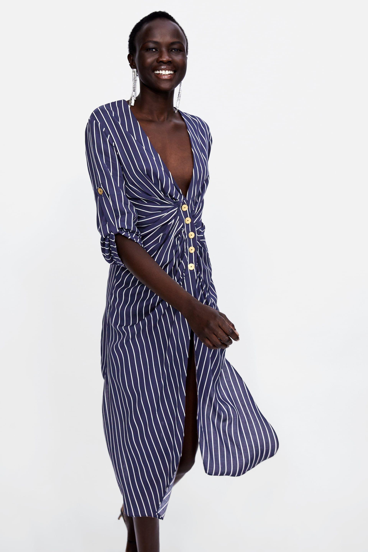 911f3cc3 Image 2 of STRIPED DRAPED TUNIC from Zara New Dress, Zara, Wrap Dress,