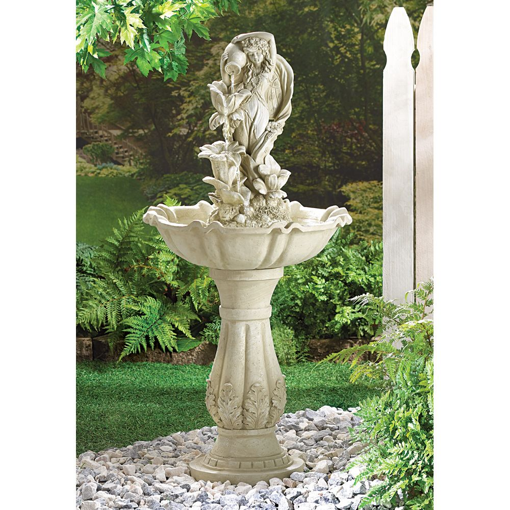 Fairy Maiden Water Fountain (Item A Fetching Fairy Maid Pours Water In  Sparkling Tiers Down A Series Of Open Blossoms. A Splendid Centerpiece For  Your ...