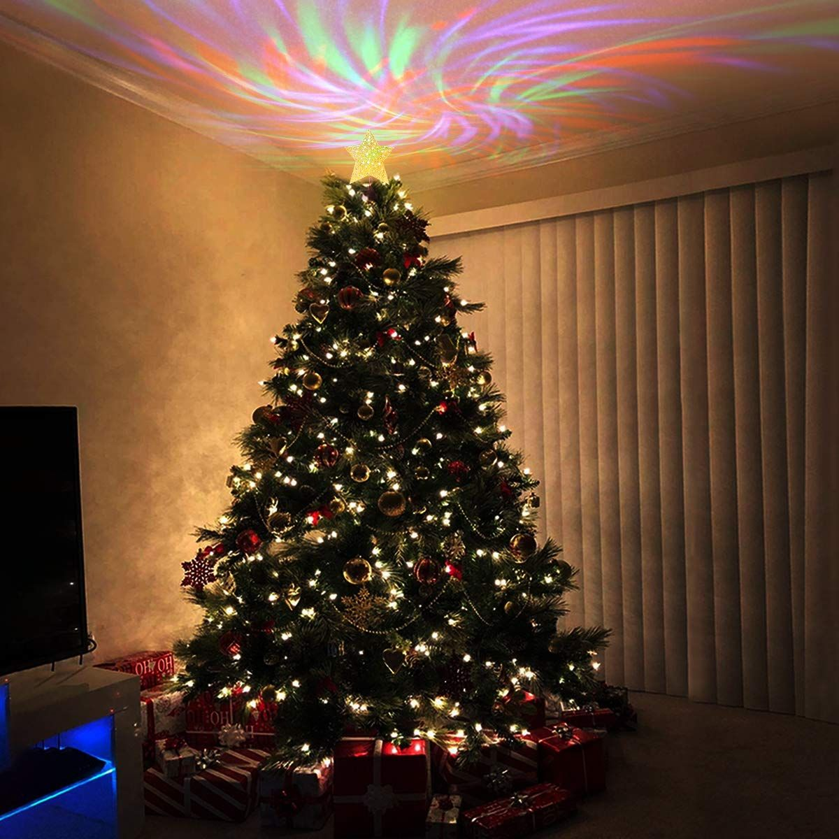 Yunlights Christmas Tree Topper Lighted Star Tree Topper With Wave Projector Christmas Tree Star Topper Christmas Tree Toppers Lighted Lighted Star Tree Topper