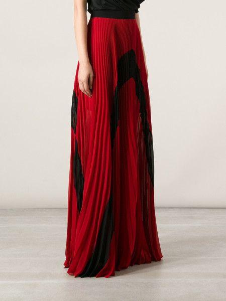 Red Pleated Maxi Skirt | Jill Dress