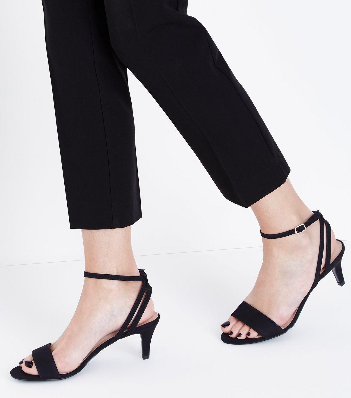 3482c451f3c Black Comfort Flex Suedette Strappy Heeled Sandals