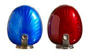 Sterling sølv og emalje i rødt og blått. Thune.