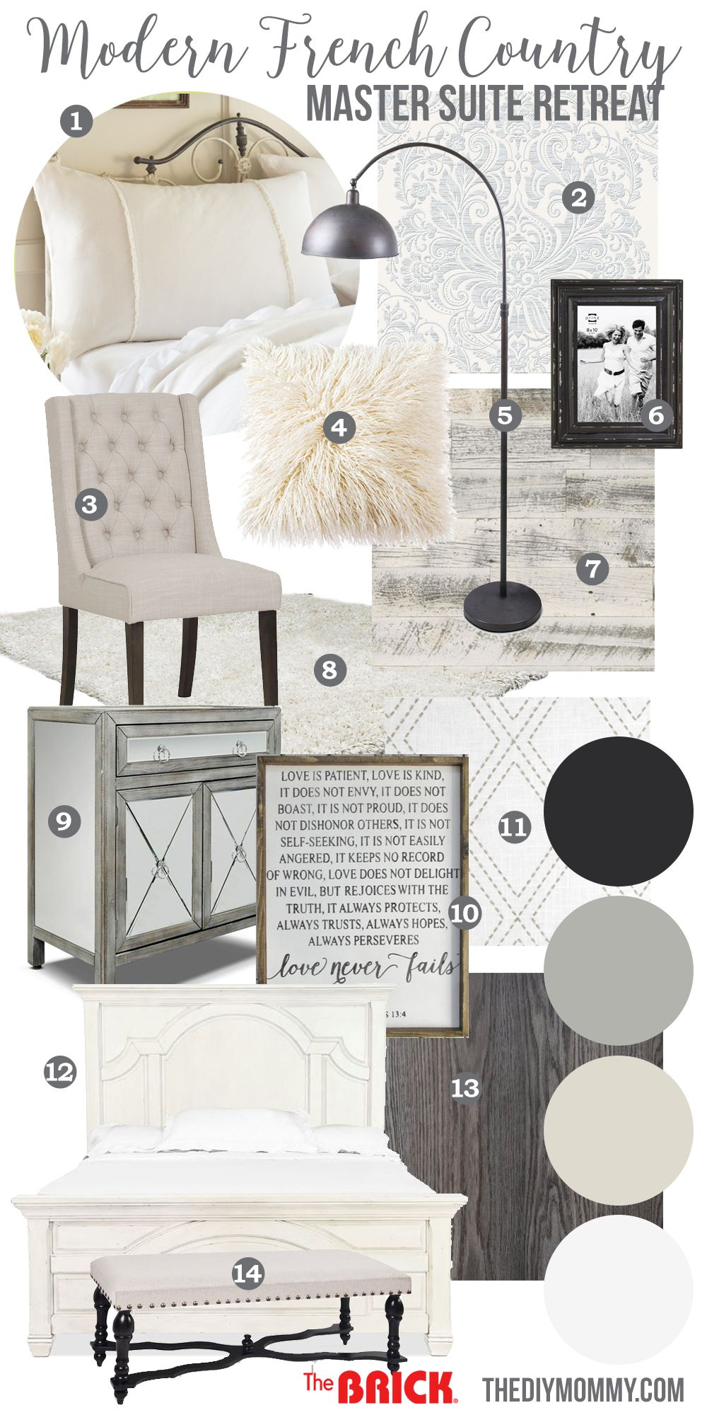 Mood board a modern french country master bedroom my one for Modern living room mood board
