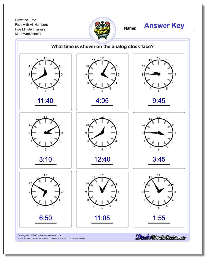Five Minute Intervals Telling Analog Time Worksheet Time