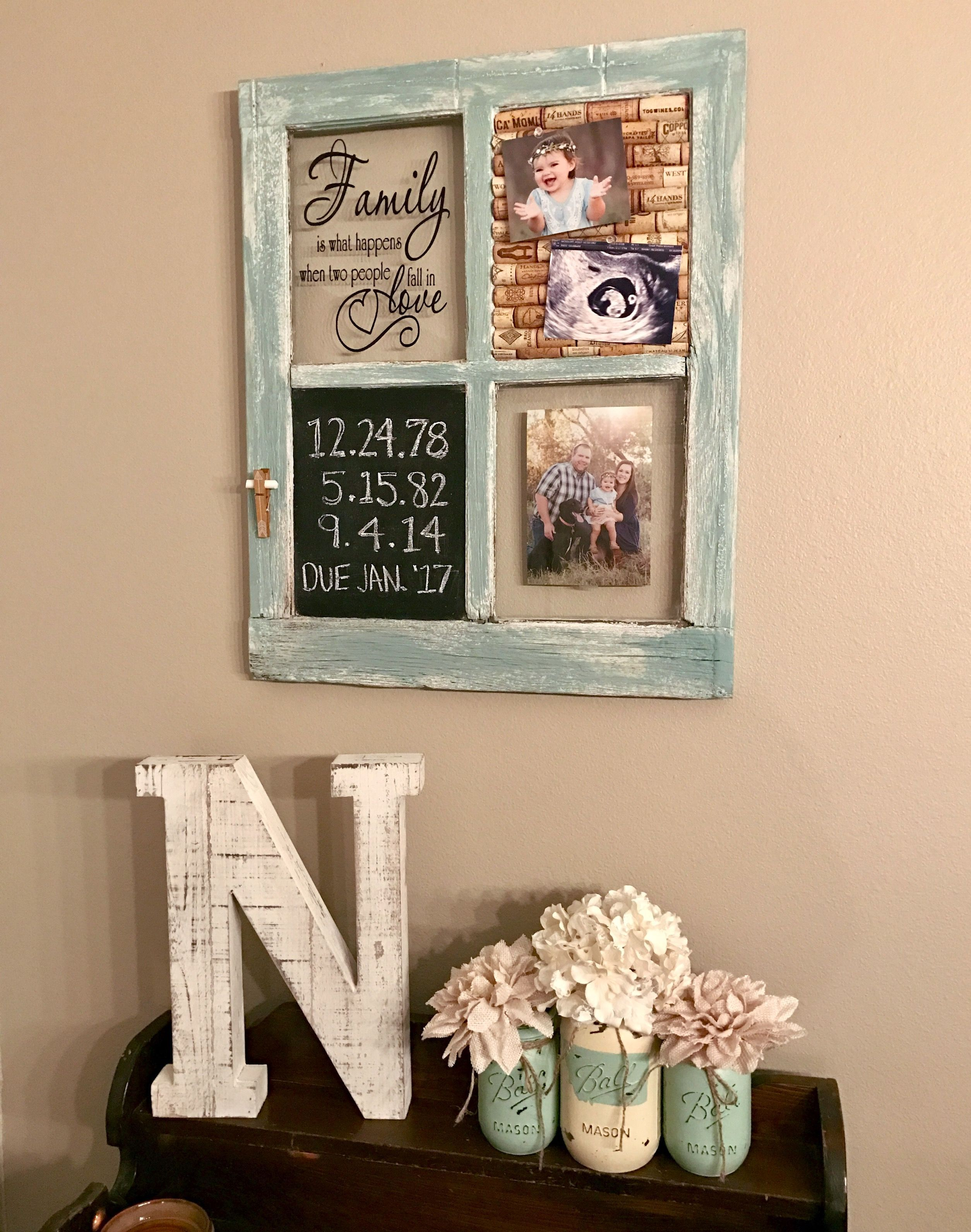 Repurposed Old Window With Chalkboard And Wine Cork Board