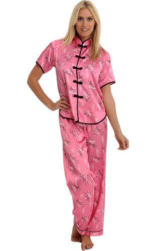 Ladies stores short sleeved button through satin nightwear floral pyjamas
