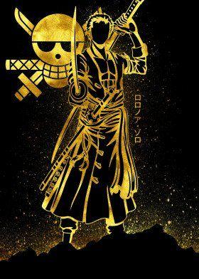 'Golden Zoro' Poster by Eternal Art   Displate