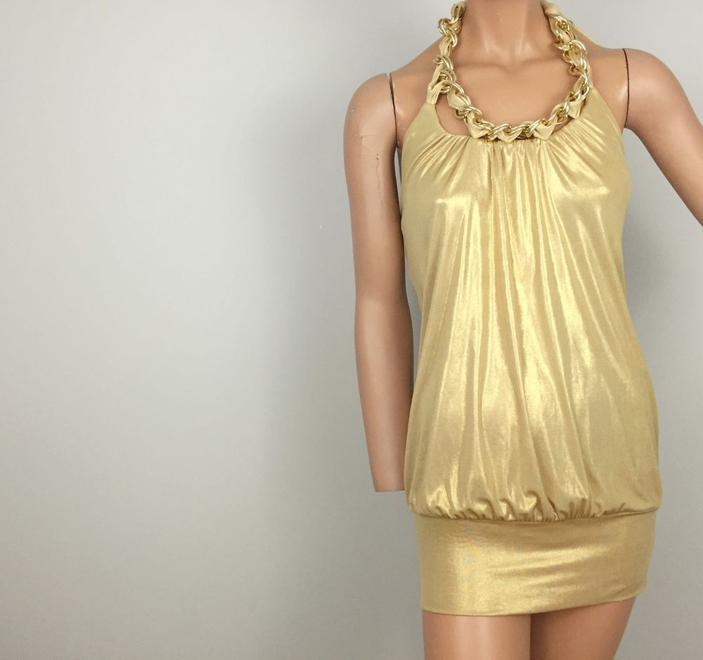 BEBE Gold Dress Sz Small Metallic w Chain Halter Short Cocktail ...