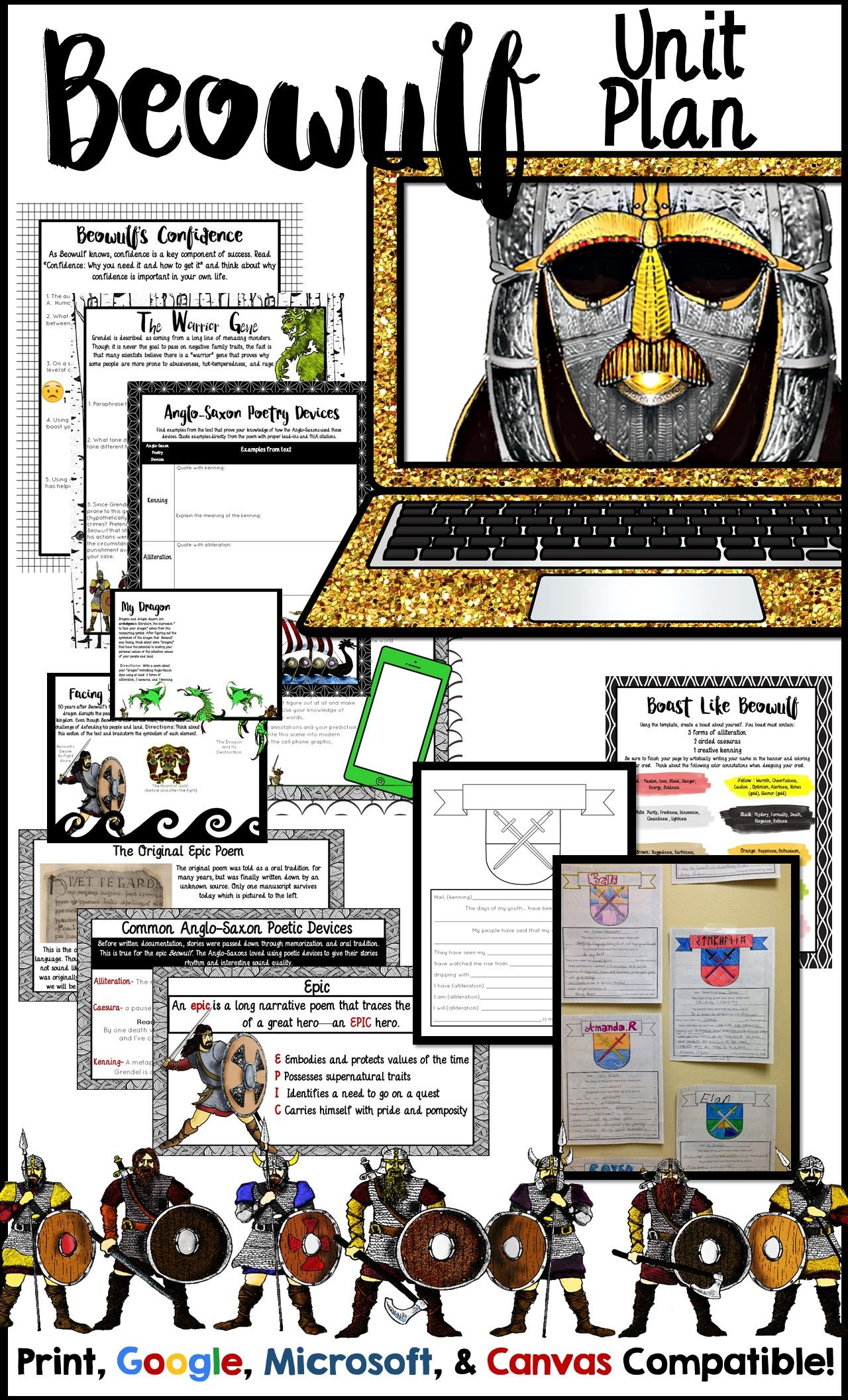 Beowulf Unit Plan With Beowulf Activities Informational Text Digital Options