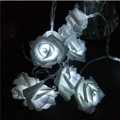 Rose Flower White Fairy String Lights 20 Roses Leds Battery Operated For Party Home