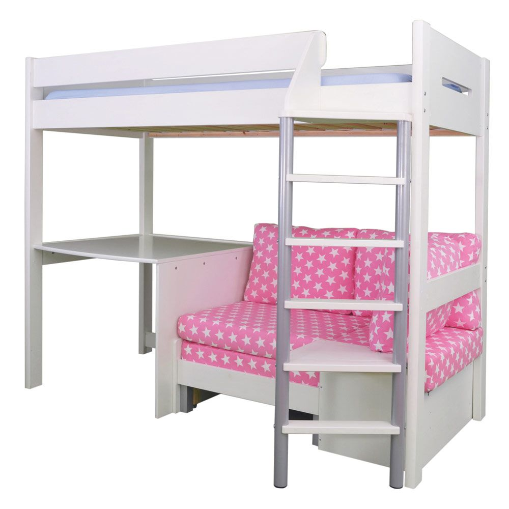Merlin High Sleeper   White (with Pink Star Sofa Bed)   Cabin U0026 Mid