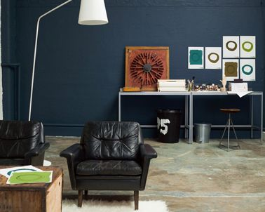 peinture salon couleur bleu canard intense dulux valentine salons
