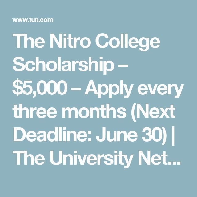 The Nitro College Scholarship 2018 Apply Monthly School And