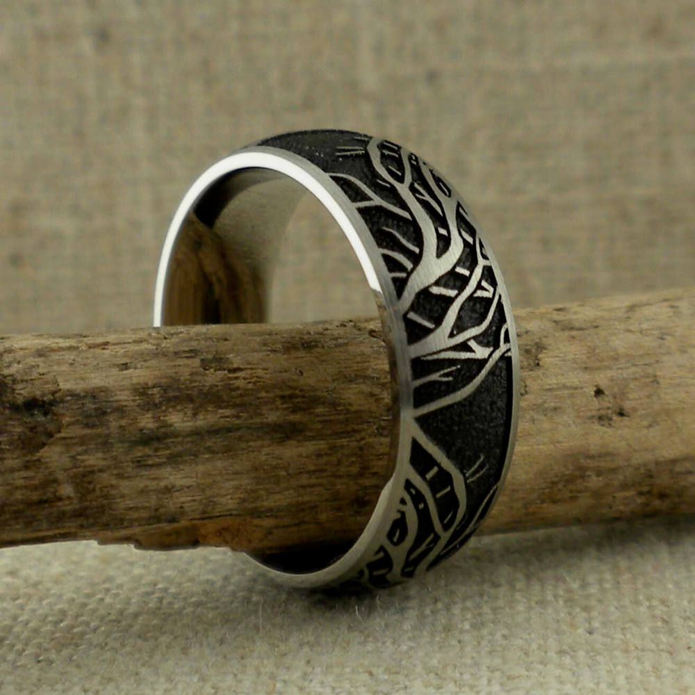 Domed Titanium Wedding Ring With Tree Of Life Branches Black Background Unique Titanium Wedding Rings In 2020 Titanium Wedding Rings Viking Wedding Ring Men Wedding Rings