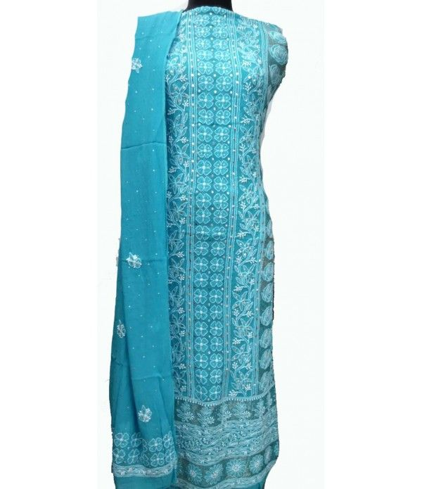 Blue Pure Georgette Hand Embroidered Chikankari Suit (With ...