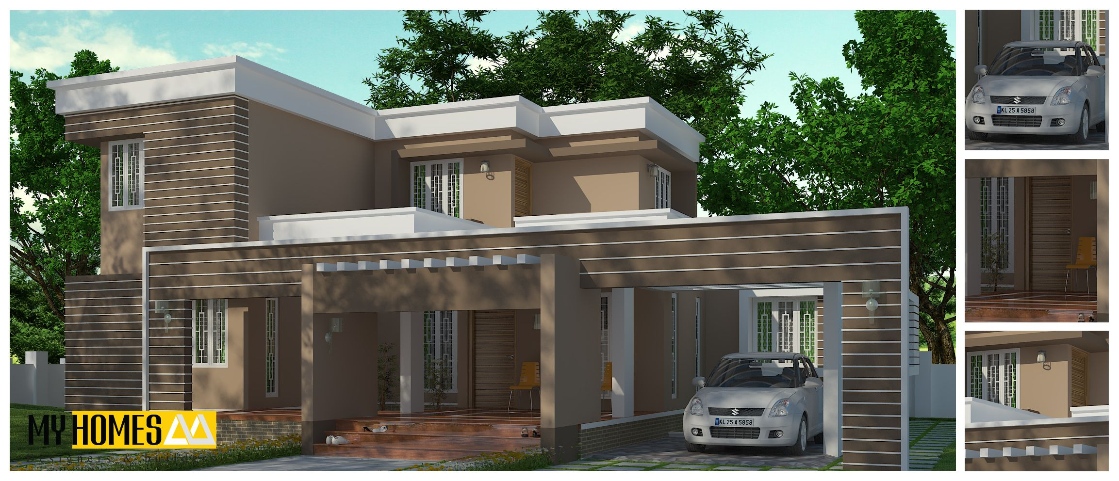 2375 sq ft contemporary house design ground floor 1 mater bed room with attached toilet