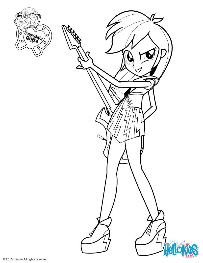 Rainbow Dash Coloring Page Paginas Para Colorir Equestria Girls