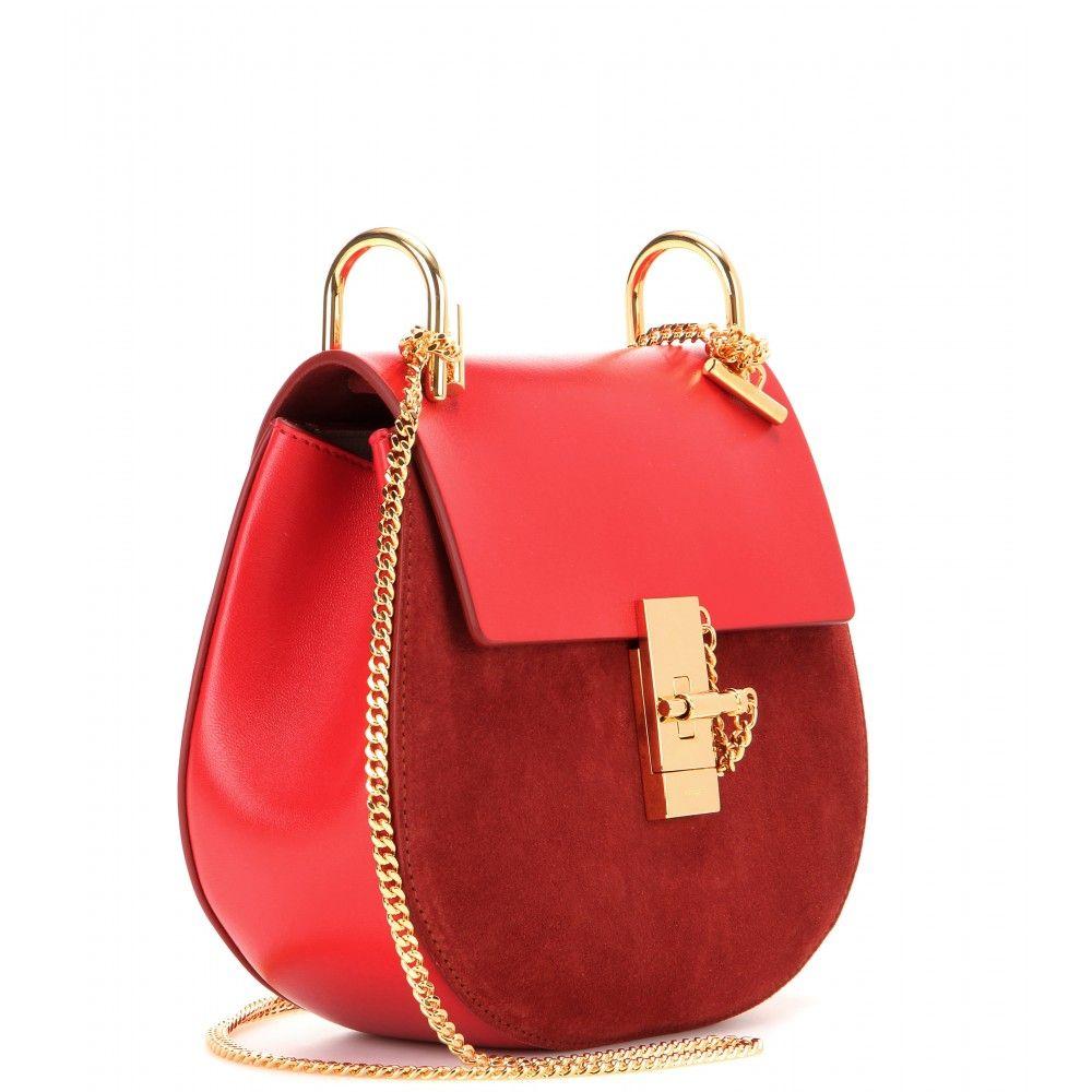 Chloé - Drew leather and suede shoulder bag - mytheresa.com