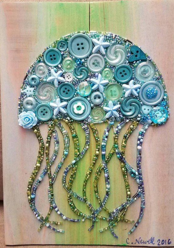 Jellyfish Button Art, Jelly Fish Art, Unique Beach decor, Ocean home decor, Unique Button Art, Birthday gift art, ButtonArtByCarol