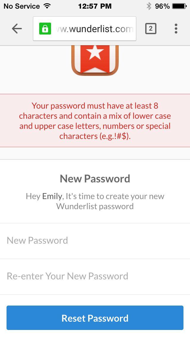 Wunderlist Password Reset Password Criteria Not Displayed