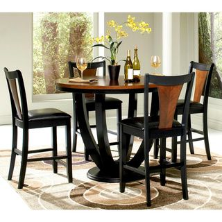 Besancon Two tone Black Cherry 5 piece Counter Height Dining Set