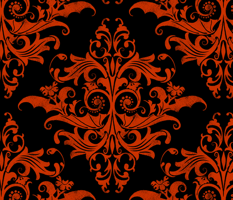 Colorful Fabrics Digitally Printed By Spoonflower Calvarium Damask Red On Black Lace Wallpaper Damask Halloween Fabric
