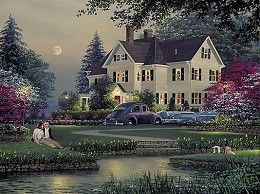 William Phillips Courtyard Limited Edition Print # #Americana-Nostalgia Let Your Heart Come Home to Phillips Bay COURTYARD, LIMITED EDITION PRINT