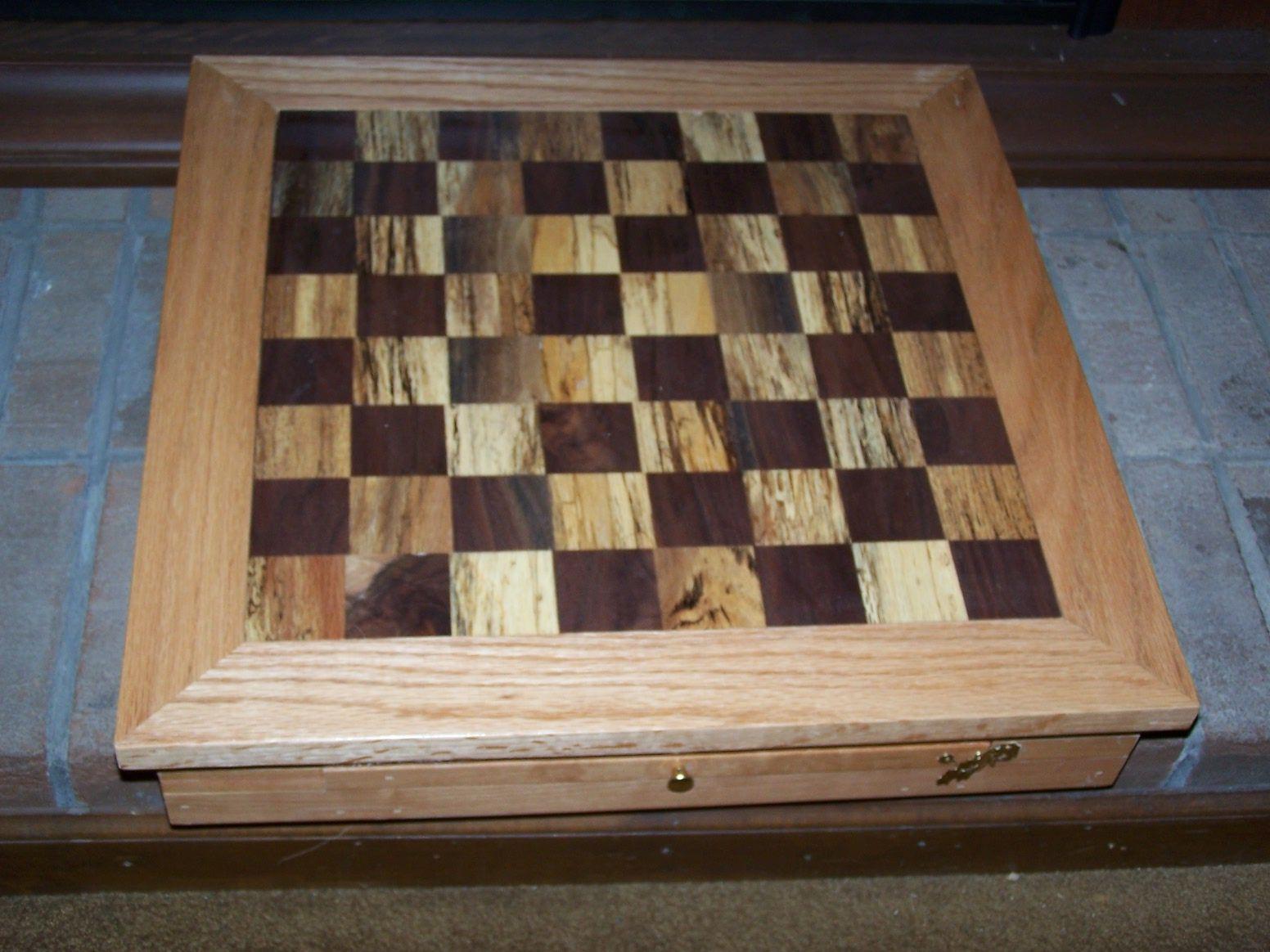 walnut/stressed oak checker board