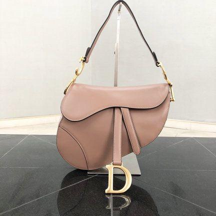 afe8620a14e4 2018 Dior Saddle Bag in Nude Pink Calfskin Leather