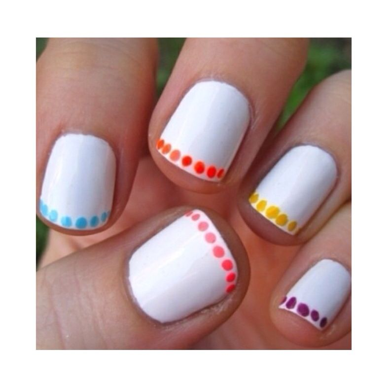 Here is a quick and easy nail design! 1. Base coat 2. Then any white ...
