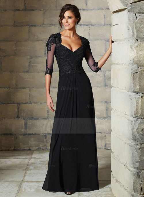 A-Line/Princess V-neck Floor-Length Beading Appliques Lace Chiffon Tulle Zipper Up Sleeves 3/4 Sleeves No 2015 Black Champagne Spring Fall Winter General Mother of the Bride Dress