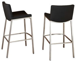 Bartolli Modern Design Black Barstool Set Of 2 Modern Bar