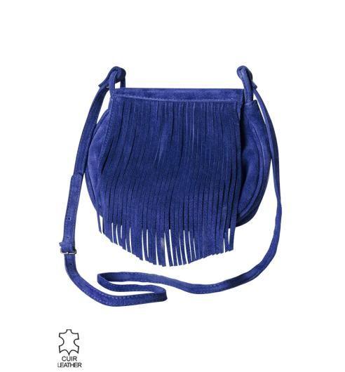 Bolso de flecos azul - Promod  30eb6b40d45