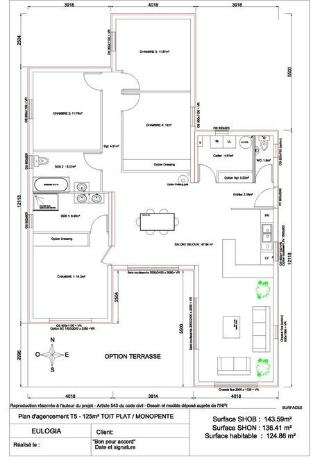 Maison ossature bois contemporaine - Plain pied - 125 m2 Plans de