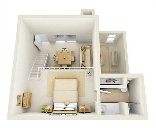 The Best One Bedroom Floor Plans Espacos Pequenos Planta De