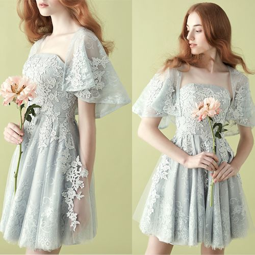 Gray Embroidered Lace Tea Length Formal Prom Party Tutu Dress Women