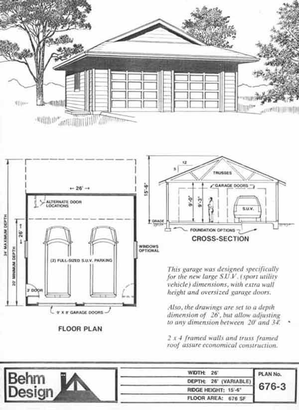 Two Car Garage With Dutch Gable Roof Plan No 676 3 26 39 X