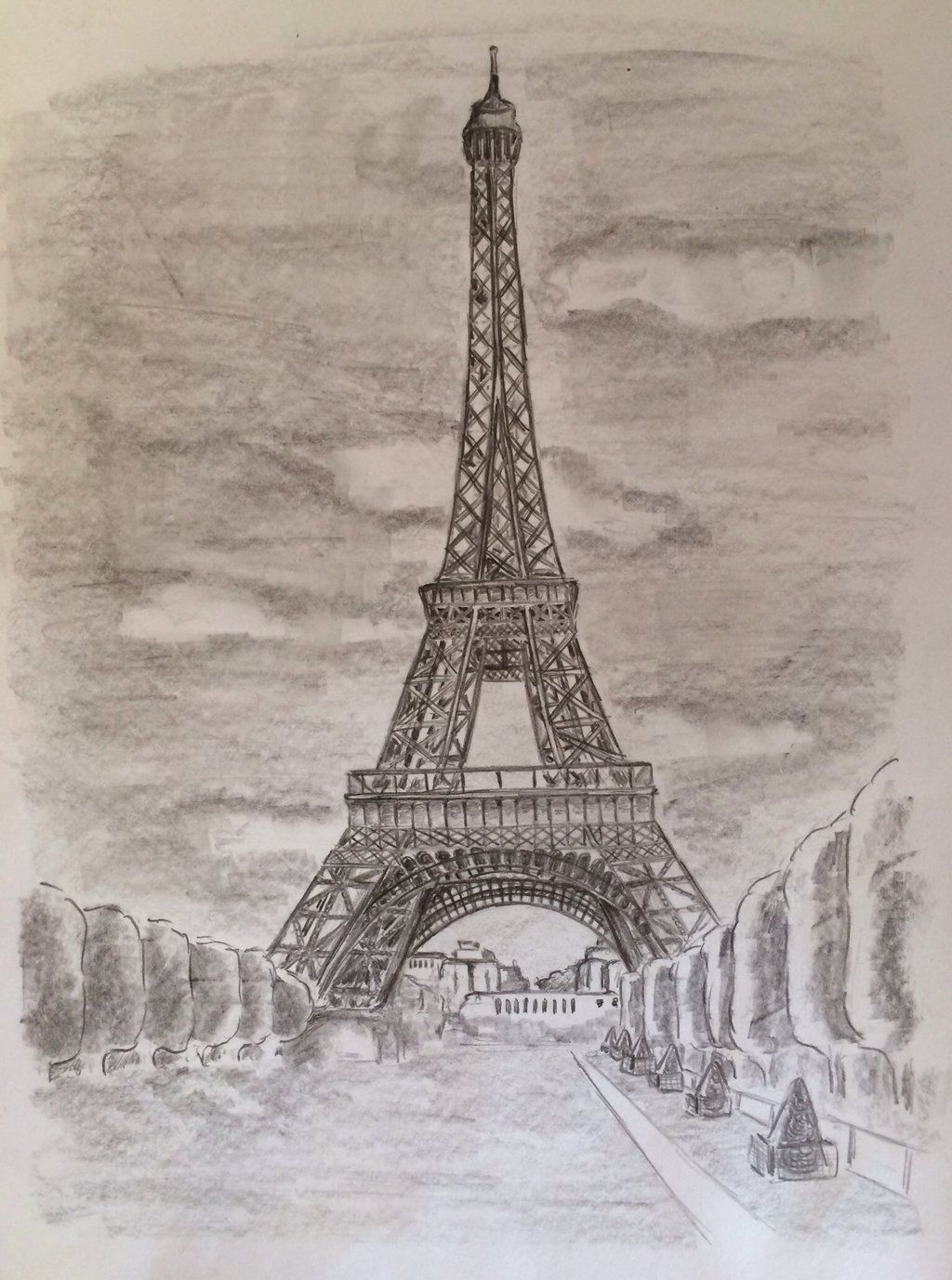 Tour Eiffel Tower Paris France Black White Drawing