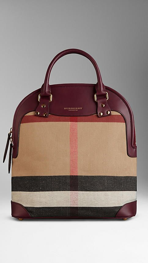 12b951b9a258 The Medium Bloomsbury in Canvas Check and Leather in Brown Ochre ...