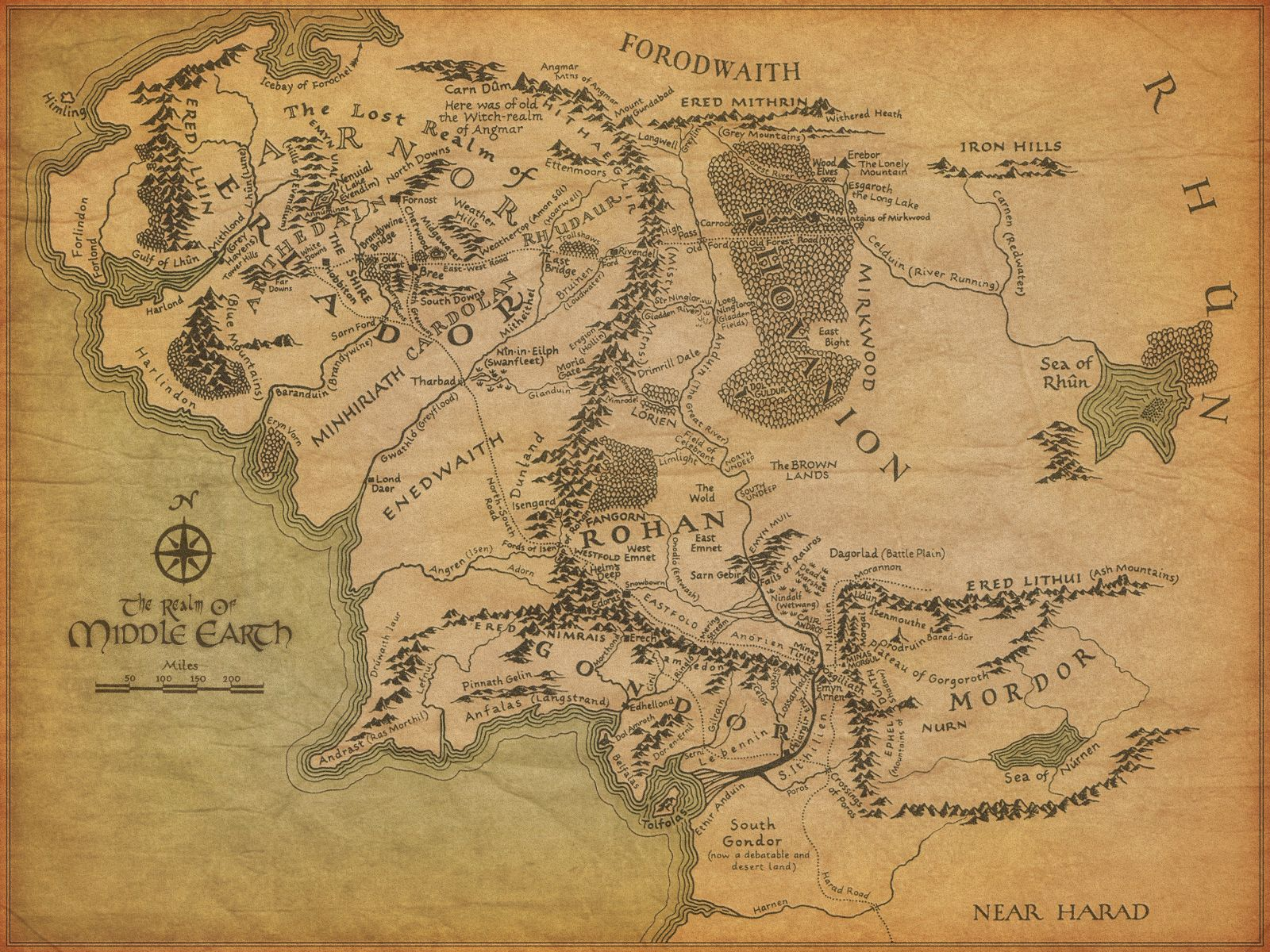 """Map of Middle Earth from """"The Lord of the Rings"""" 