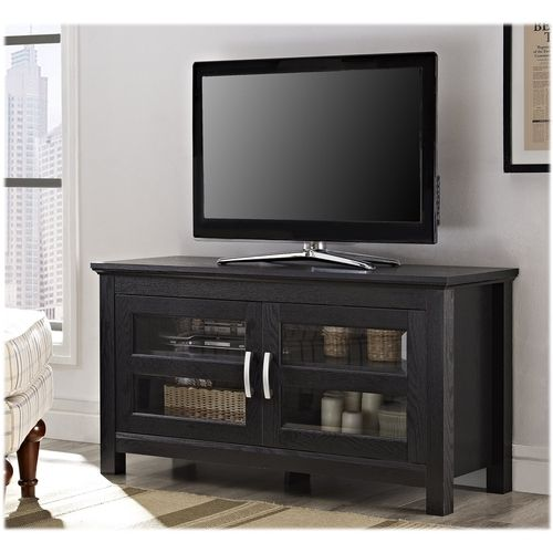 Walker Edison Tv Cabinet For Most Tvs Up To 48 Black Tv Stand With Glass Doors Tv Stand Console Black Tv Stand