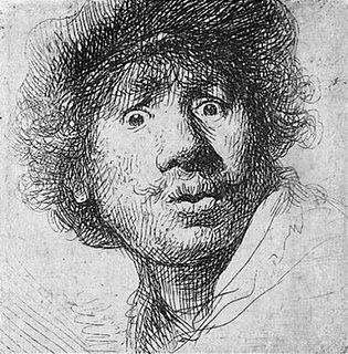 Self-Portrait with a Cap, Open-Mouthed, 1630, one of almost 90 self-portraits by Rembrandt