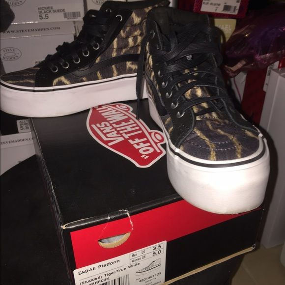 e809aa757bb VANS SK8 HI PLATFORM SNEAKERS Tiger strip vans size 5 price is firm. Worn  one time. They are also studded as shown. Comes with box. Limited edition.