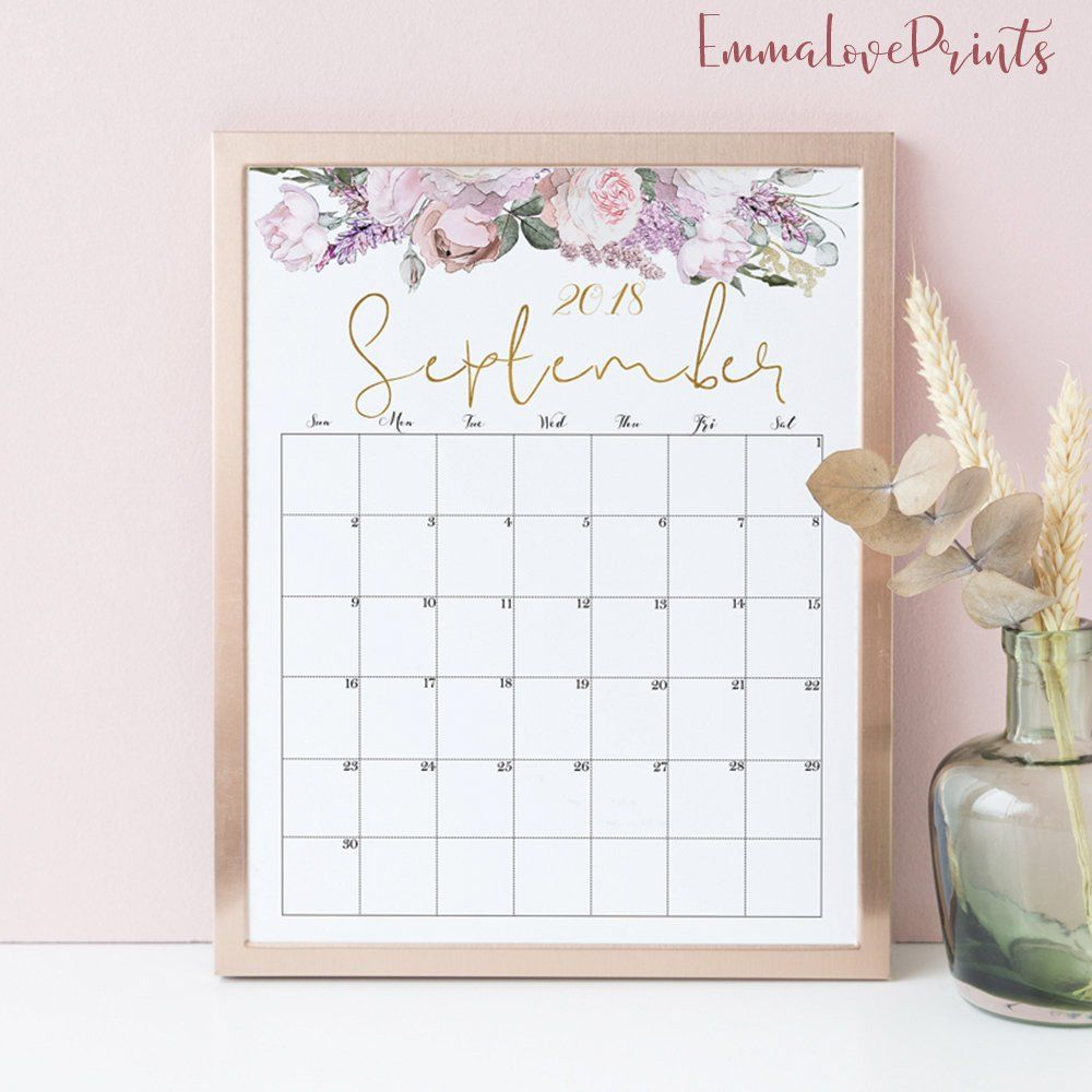 2019 2020 Floral Desk Calendar: Watercolour Calendar 2020, Floral Wall Calendar 2020 Desk