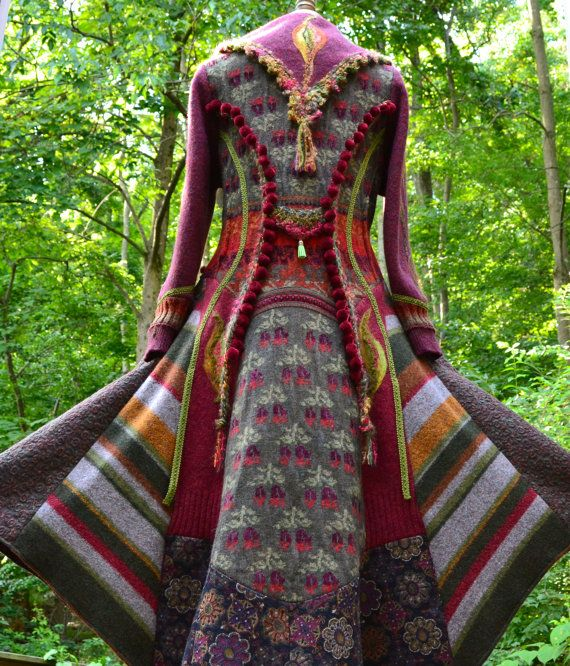 Long Patchwork Gypsy Sweater/Coat with appliqué and crocheted ...