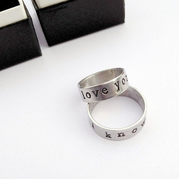 Star Wars Quote Rings  I Love You & I Know by GeekandGamer on Etsy, $45.00